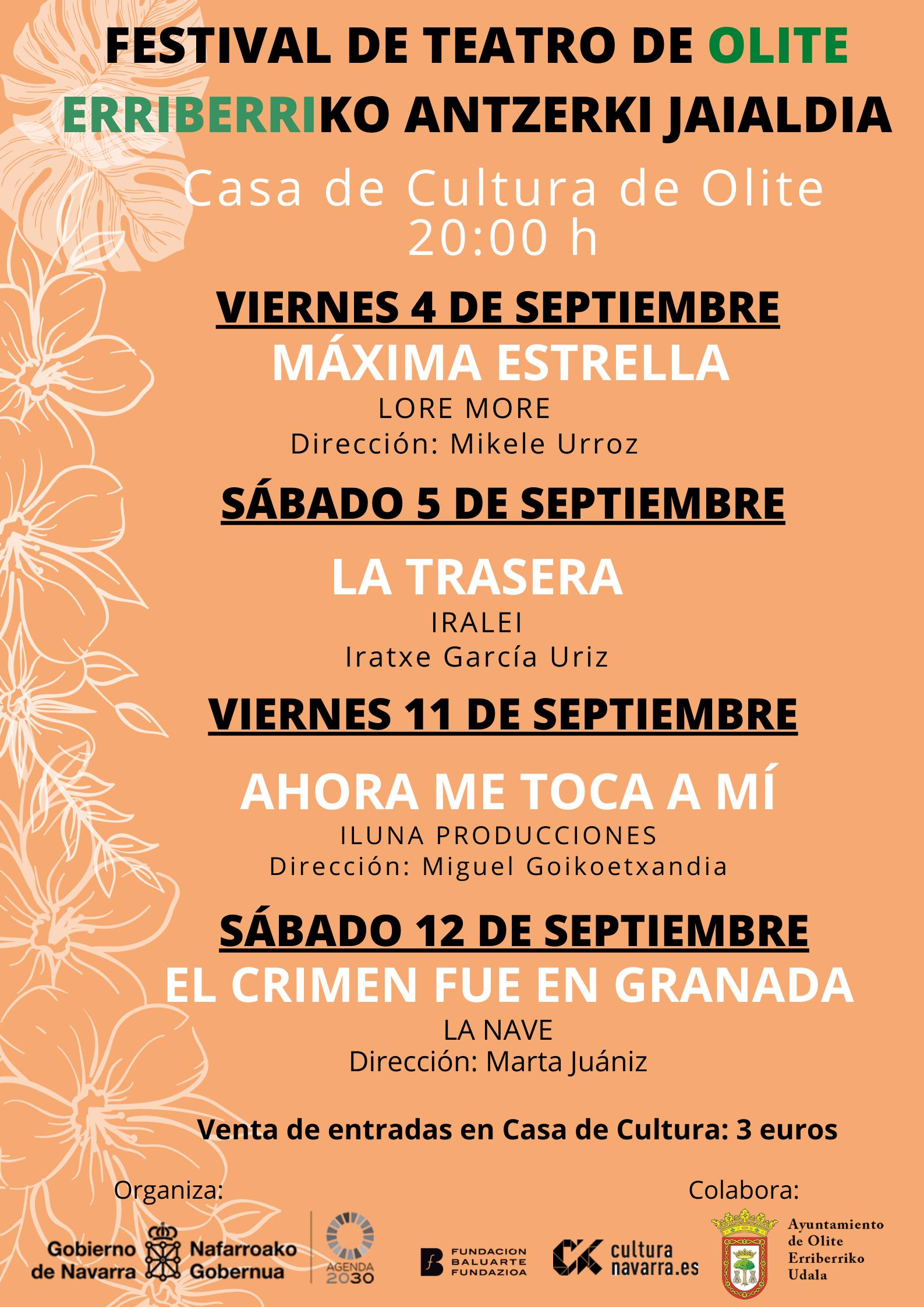 Festival teatro olite septiembre agenda 2020